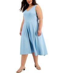 alfani solid v-neck midi tank dress, created for macy's