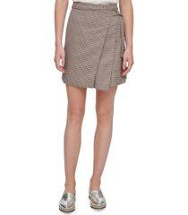 dkny layered wrap mini skirt