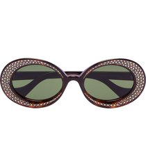 gucci eyewear crystal-embellished oval sunglasses - brown