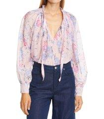 women's loveshackfancy willow floral print tie neck top, size medium - purple