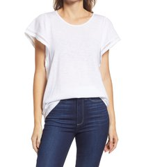 gibsonlook flutter sleeve top, size small in white at nordstrom