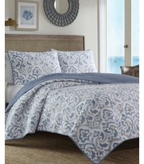 tommy bahama cape verde smoke reversible 3-piece full/queen quilt set
