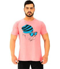 "camiseta tradicional gola redonda alto conceito bulldog hipster ã""culos espelhado rosa beb㪠- rosa - masculino - algodã£o - dafiti"