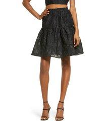 women's bardot demi floral jacquard skirt, size large - black
