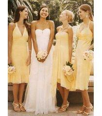 free shipping 3 styles yellow bridesmaid dress chiffon knee length dress/formal