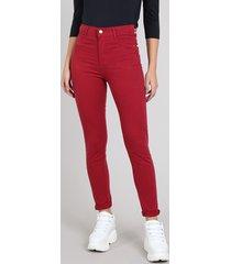 calça de sarja feminina sawary super skinny cintura super alta vinho