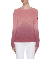 leather sleeve patch radiant rib knit sweater