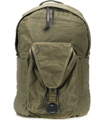c.p. company crinkle logo plaque backpack - green