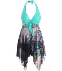 mesh butterfly sheer handkerchief halter tankini swimwear