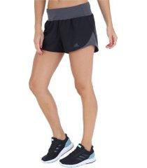 shorts adidas run it - feminino - preto/cinza esc