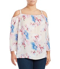 floral-print cold-shoulder top