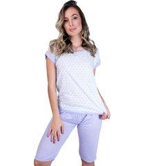 pijama mvb modas pescador adulto blusinha e calça curta lilás