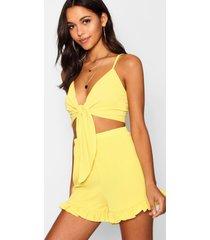 tall top met strik en shorts set, geel