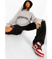 woman oversized hoodie met gothic opdruk, grey marl
