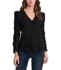 1.state ruched-sleeve button-front v-neck top