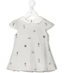 lapin house embellished peter pan collar dress - grey