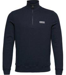 b.intl essential h zip sweat-shirt tröja blå barbour
