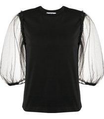 msgm sheer puff sleeve t-shirt - black