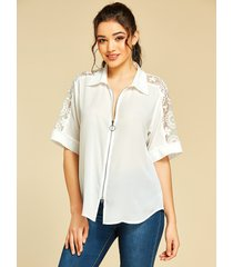 yoins white lace revere collar half sleeves tee