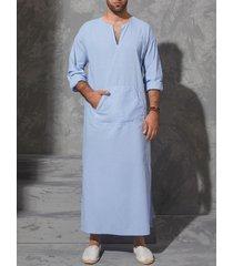incerun hombre casual étnico túnica manga larga suelta vendimia caftán de bolsillo camisa