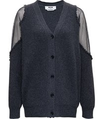 msgm grey knitted cardigan with mesh inserts