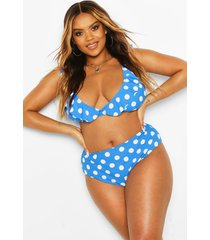 plus polka dot plunge frill high waist bikini, blue