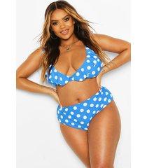 plus polka dot plunge frill high waist bikini, blue