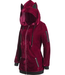 plus size hooded velvet zip pocket tunic coat