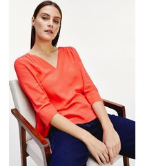 tommy hilfiger women's relaxed fit v-neck popover top bright vermillion - 0
