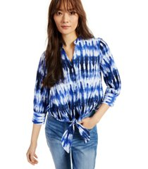inc cotton printed tie-hem button-down top, created for macy's