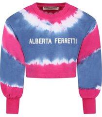 alberta ferretti multicolor sweatshirt for girl with logo