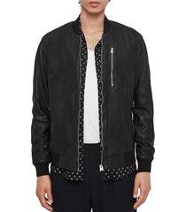 men's allsaints kino leather bomber jacket, size xx-large - black
