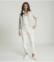 reiss zadie - zip through loungewear sweatshirt in grey, womens, size l