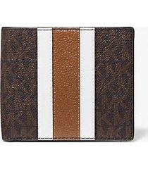 mk portafoglio a libro hudson in pelle a righe con logo - marrone/cuoio (marrone) - michael kors