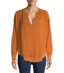 free people women's ribbed high-low cotton-blend sweater - autumn willow - size xs