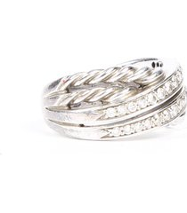 david yurman crossover sterling silver diamond ring silver sz: 7