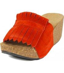 sandalia cuero flecos rojo nara
