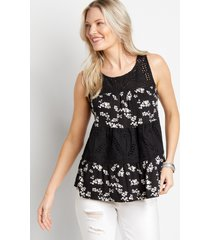 maurices womens black floral eyelet lace babydoll tank top