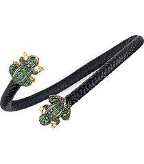 14k goldplated & pavé cubic zirconia frog wrap bracelet