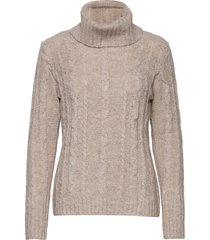 crellie knit pullover turtleneck polotröja grå cream