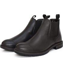 bota botina coturno masculino forrado couro lisa preto - preto - masculino - dafiti