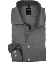 mouwlengte 7 olymp shirt zwart motief strijkvrij