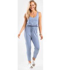evanne button knit jumpsuit - light blue