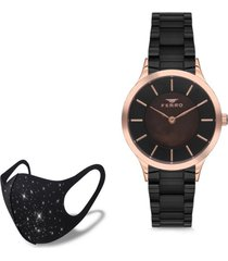 reloj rose black  fashion mask con cristales ferro