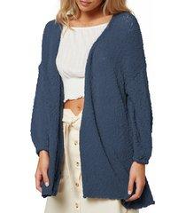 women's o'neill coronado cardigan sweater, size large - blue