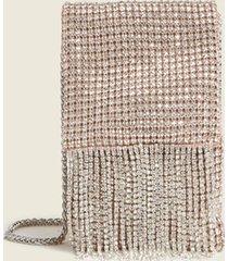 motivi borsa mini a sacchetto con frange di strass donna rosa