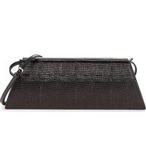 giuseppe zanotti women's iguana-embossed leather convertible clutch - black silver