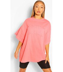 iowa applie oversized t-shirt, coral