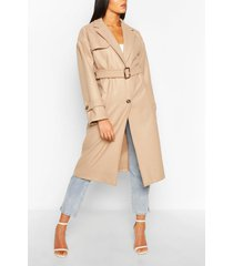 belted wool look trench coat, stone