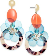 inc gold-tone flower & tortoise-look circle statement earrings, created for macy's